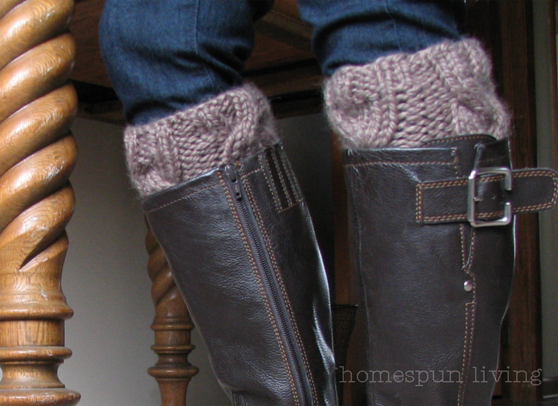 Boot Cuff Knitting Patterns : homespun living: homespun cabled boot cuffs ~ in the round