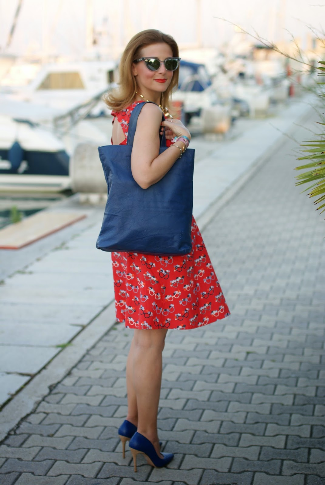 sergio levantesi heels, yumi glasses print dress, nava design bag, Fashion and Cookies, fashion blogger