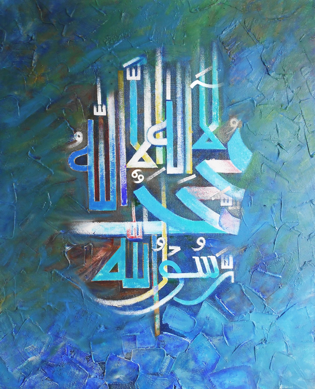 Islamic painting calligraphy art oil paintings for A mural is painted on a