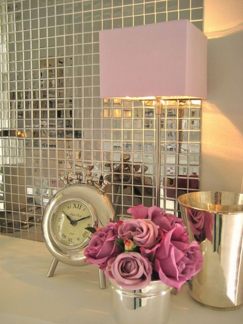 fabulous mirrored mosaic wall with Pantone Radiant Orchid flowers