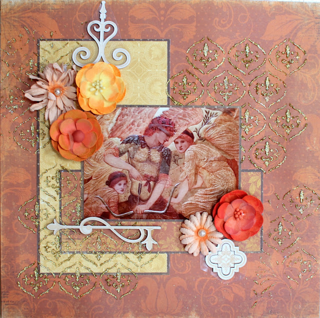 The Golden Touch layout by Ilene Tell using BoBunny Enchanted harvest collection (stage 1)