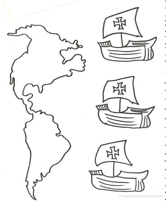 Dibujos De Cristobal Colon Con Las Tres Carabelas ...