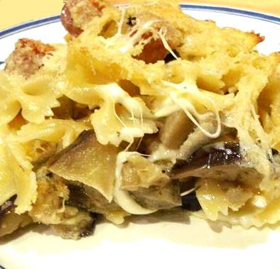 Cocina de coraz n farfalle con berenjenas y queso mozzarella for Como cocinar corbatitas
