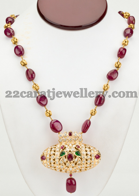 Rubies Long Chain with Diamond Locket