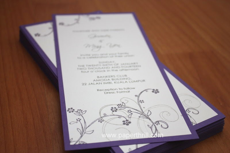 Handmade cherry blossom wedding invitation card