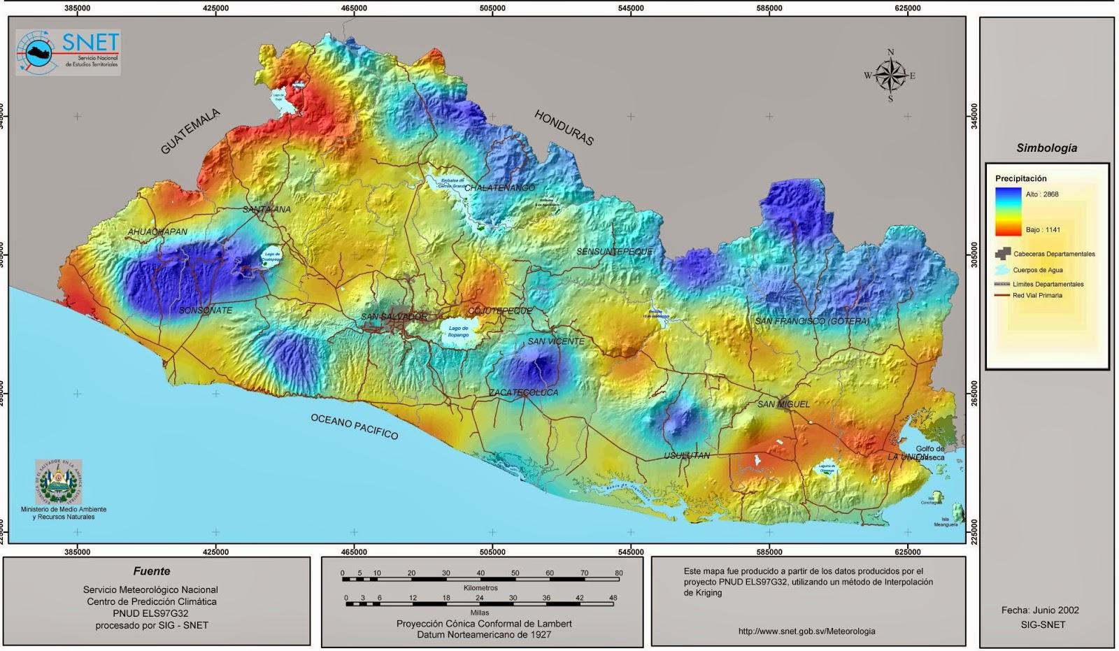 El Salvador Elevation Map - Map of el salvador