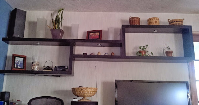 Shortened LACK shelves for wall display