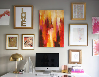 office decor, office inspiration, bright office decor, chic office space, chic office decor, gallery wall, gold and coral, organizing office