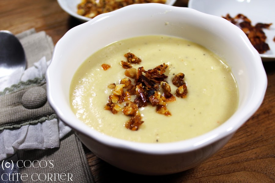 Parsnip Soup with caramelized Nuts and Bacon Chips