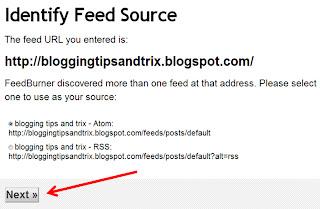 getting feedburner email feedlink