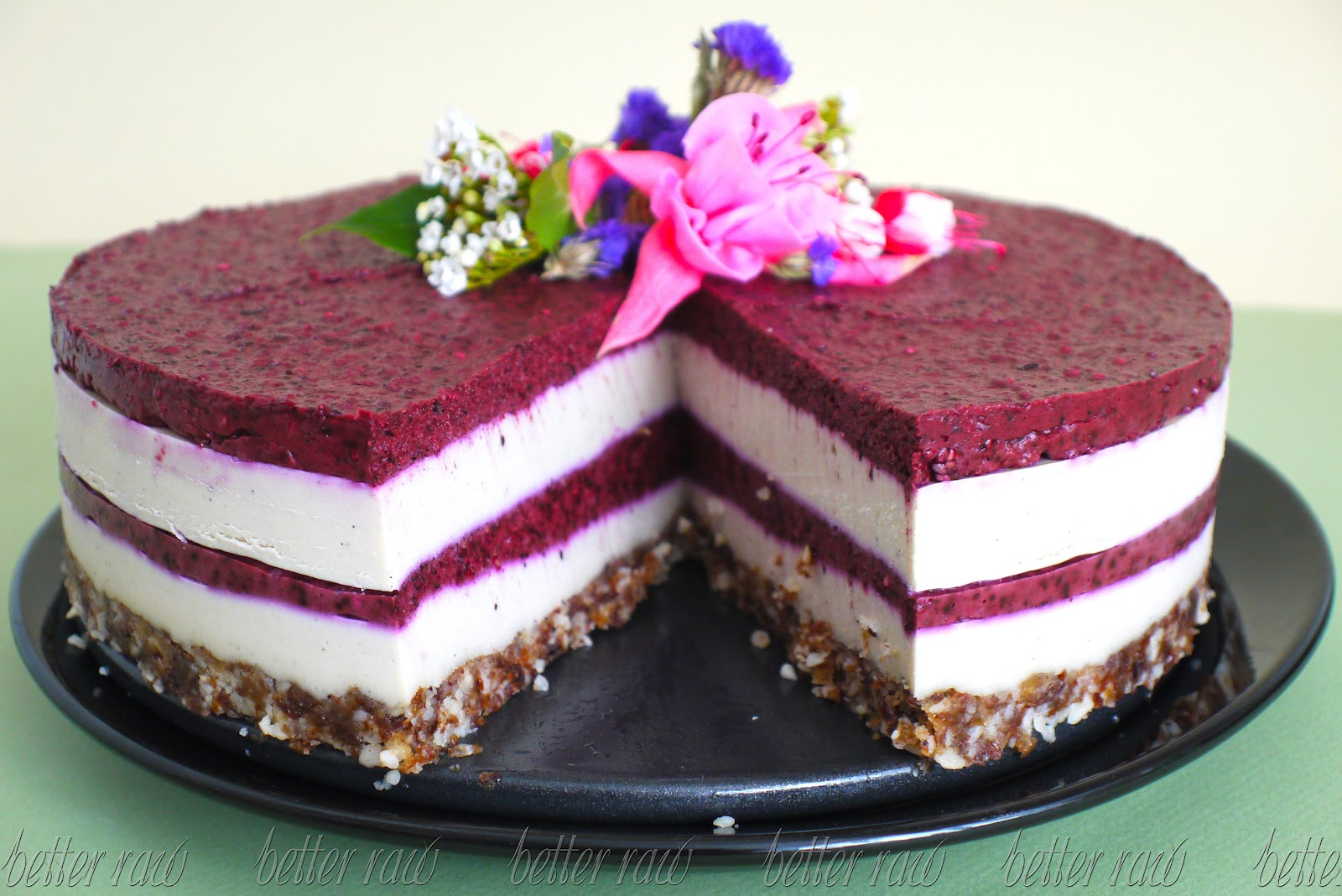 Blueberry And Cream Layer Birthday Cake Better Raw