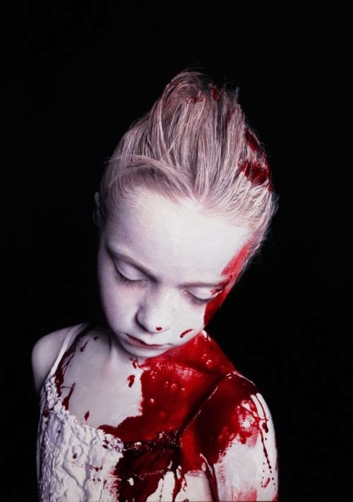 Gottfried Helnwein paintings hyper-realistic little girls injured innocence violence The disasters of war - bleeding girl