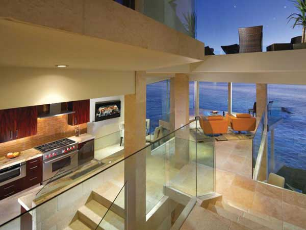 Photo of home interiors at sunset as seen from the stairs