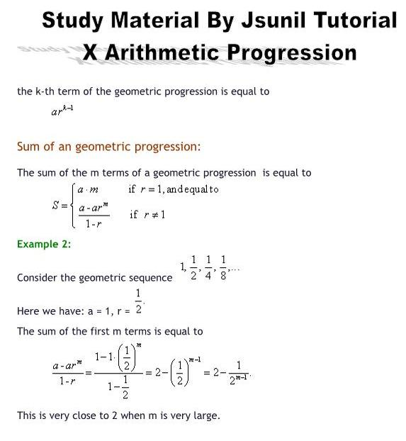 arithmetic progressions Printable worksheets and online practice tests on arithmetic progressions for class 10 questions on arithmetic progressions.