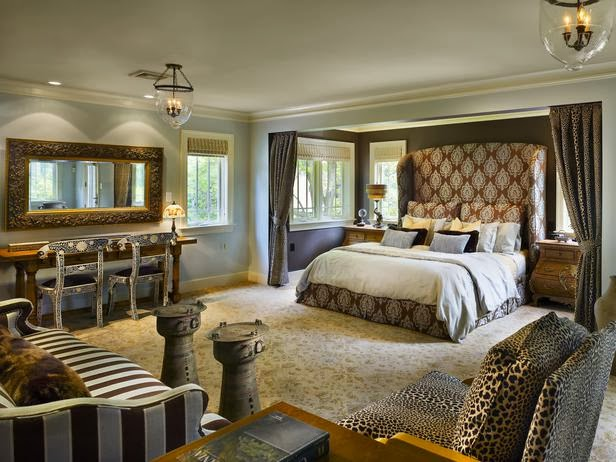 rich animal print suite tap into your animal instincts in this richly textured master suite - Sexy Master Bedroom Decorating Ideas