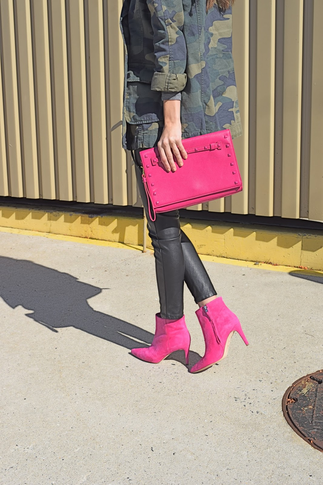 wearing Sam Edelman Candy Pink Karen Pointy Toe Suede Bootie, Blank NYC vegan leather pants, Camo jacket and pink booties