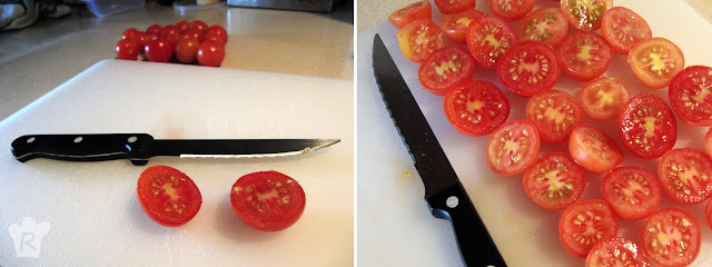 Corta los tomates, la cebolla y el queso