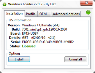 Windows Loader v2.1.7 by DAZ New 2012