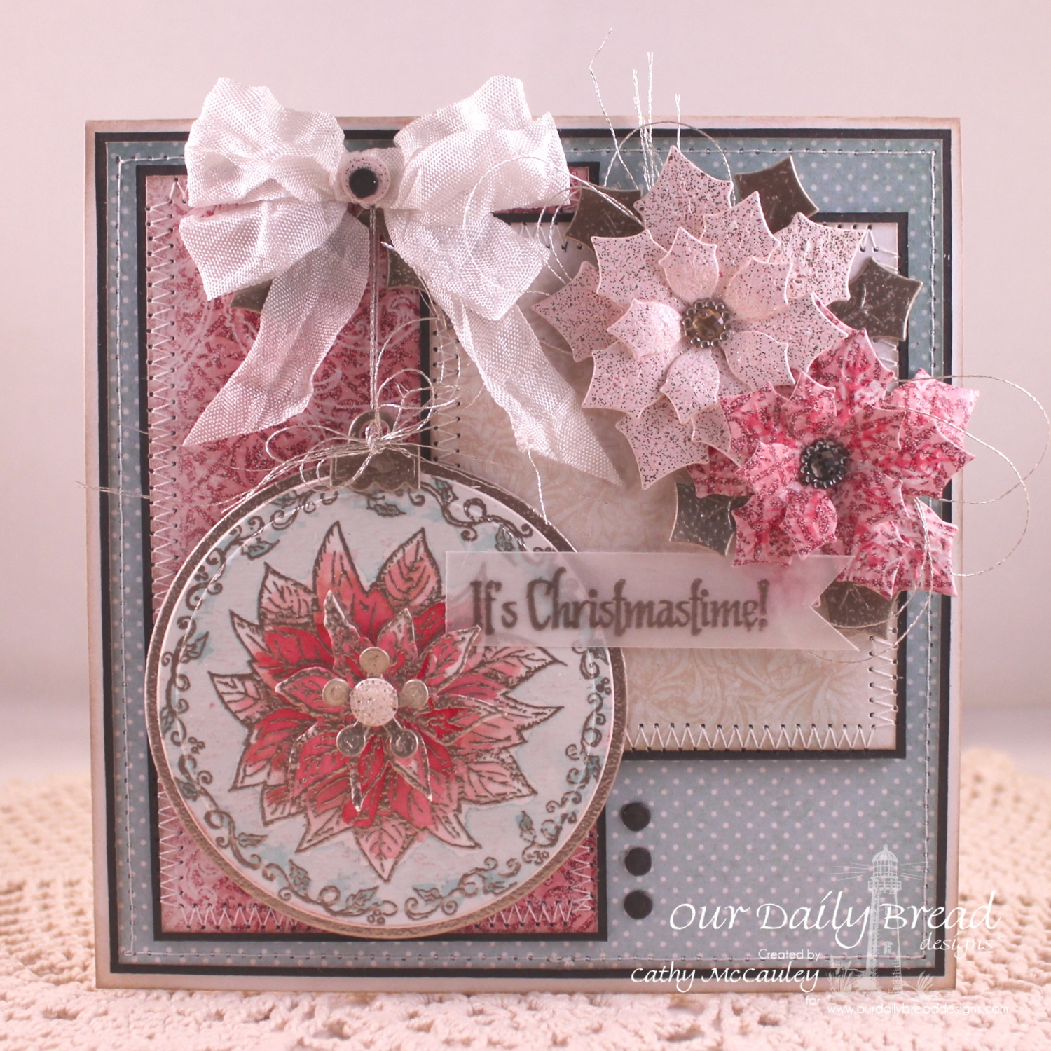 Stamps - Our Daily Bread Designs God's Timing, Poinsettia Ornament, ODBD Custom Peaceful Poinsettias Dies, ODBD Custom Circle Ornament Dies, ODBD Custom Matting Circles Die, ODBD Christmas Paper Collection 2014
