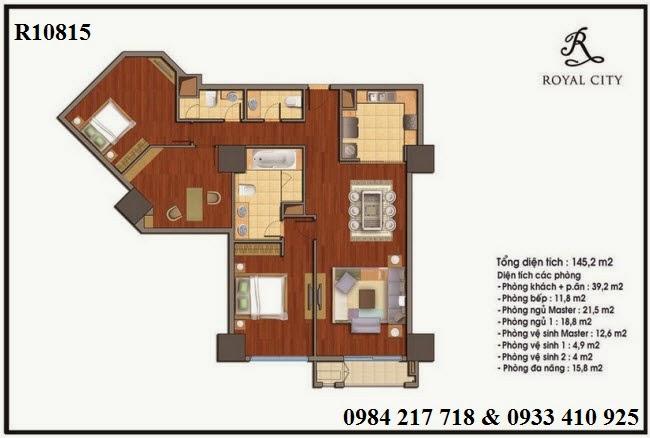 Mua bán căn hộ chung cư Royal City, căn hộ R10815 diện tích 136 m2