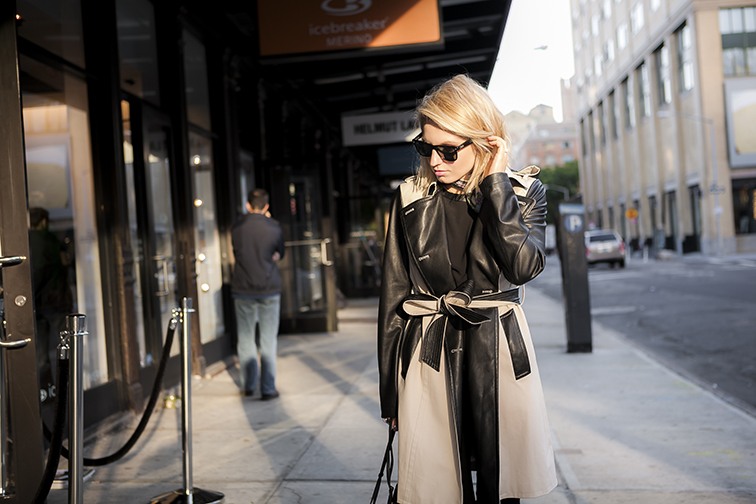 Ann Taylor leather sleeved trench coat, Liberty of London silk scarf, Ray-Ban Wayfarers, Meatpacking District, NYC