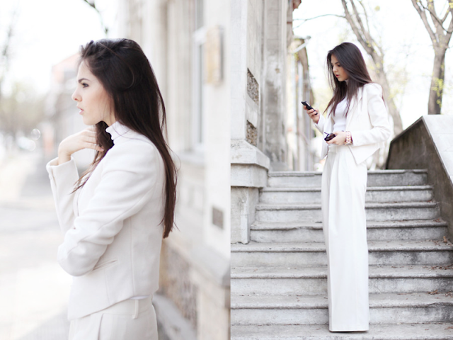 Street Style, Fashion Blogger, All white outfits, fashion bloggers, white romwe blazer