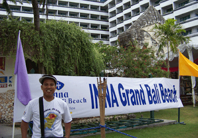 Taking a while standing in front of Inna Grand Sanur