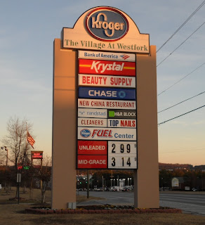 Gas price at Kroger, Austell, Ga, Dec 2011