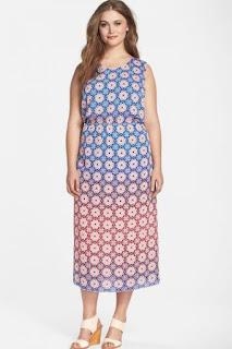 Vince Camuto 'Valencia' Ombré Midi Dress (Plus Size)