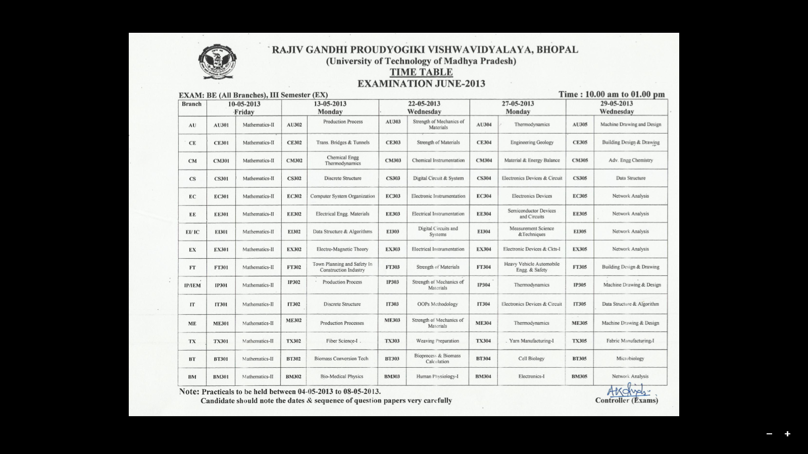 6th Sem Time Table Of Pin Rgpv Be Time Table 1st 2nd 3rd 4th 5th 6th 7th And 8th
