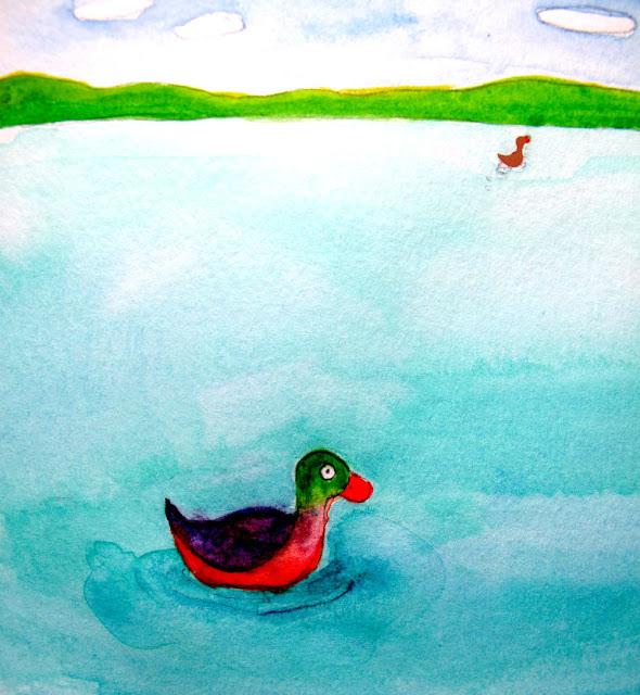 ducks drawing watercolor illustration losing love