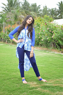 Nikitha Narayan looks So beautiful in Blue Top and Purple Leggings Sizzling Must See Pics