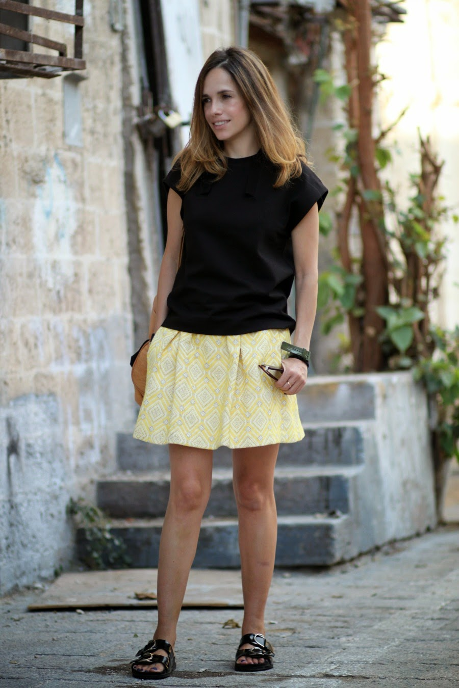 boldcolor, telavivstreetstyle, yellow,skirt,outfit,match,look,pattern,fashioblog,אופנה, בלוגאופנה,