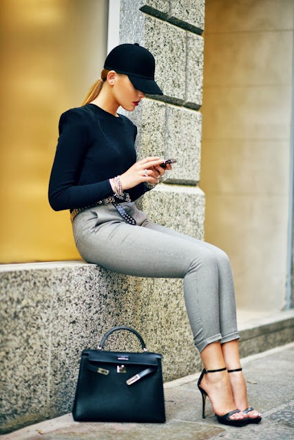 Adorable Combination -  Black Hat, Shirt, Handbag, Belt, Amazing Trousers, High Heel Shoes