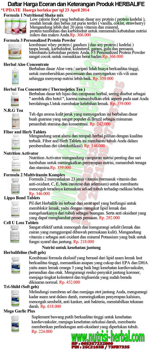 Daftar Harga Eceran Produk HERBALIFE 23 april 2014