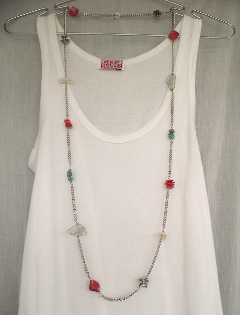 white seaglass, turquoise, mother of pearl and shell on stainless steel chain rope necklace
