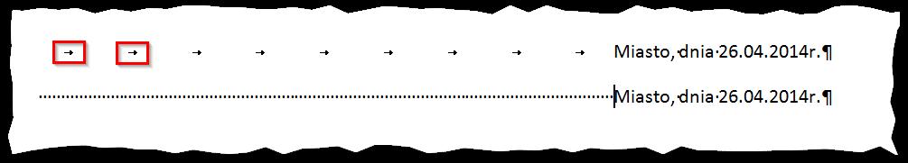 Tabulator po włączeniu znaków niedrukowalnych