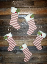 5 PRIM STRIPED STOCKING DECORATIONS
