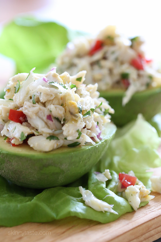 Avocado and Lump Crab Salad – avocado stuffed with a light, lump ...