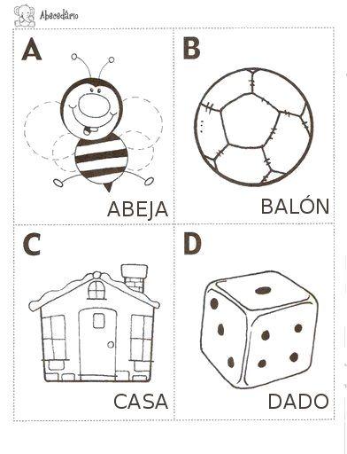 A,B,C,D para colorear   Area Infantil