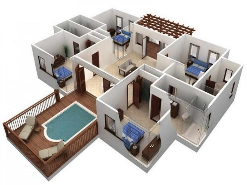 3D House Cool Of Interior Plan Houses 5