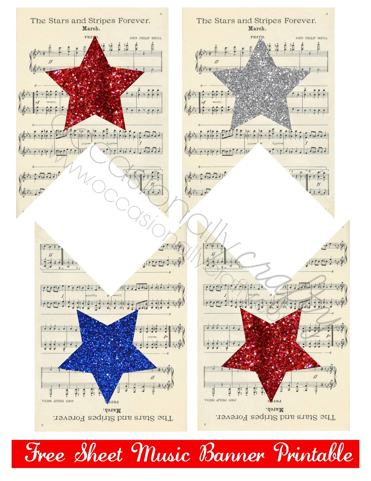 4th of july printable sheet music banner yellow bliss road