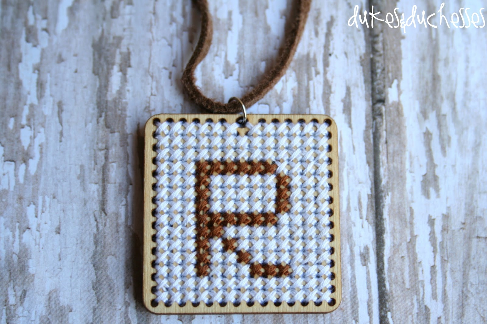 Cross stitch monogrammed necklace dukes and duchesses monogrammed pendant cross stitch aloadofball Choice Image