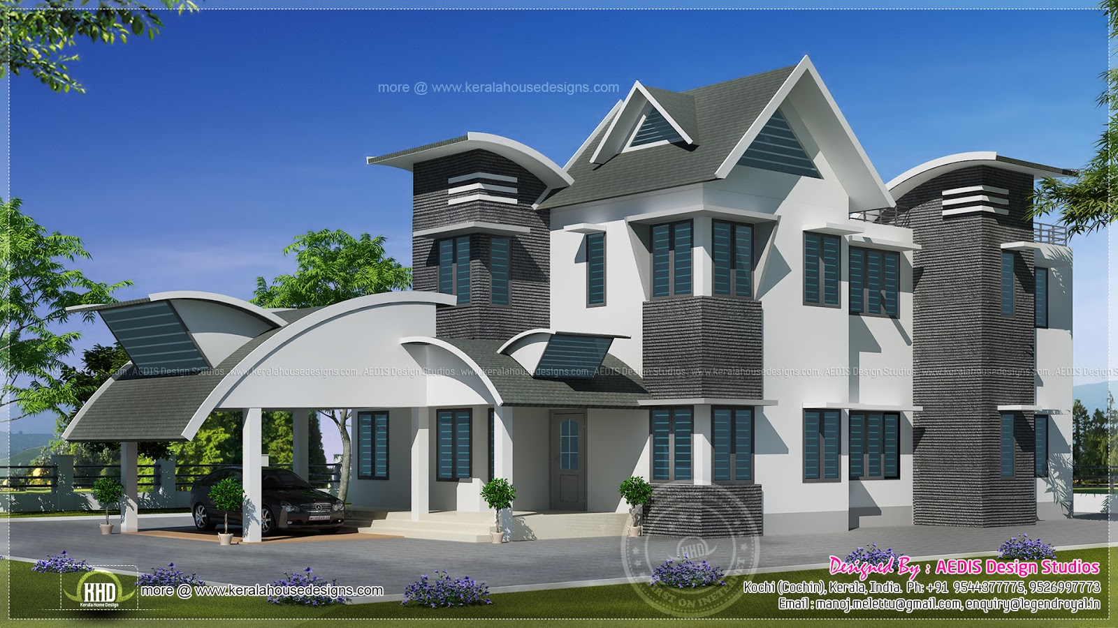 1829 sq ft unique contemporary home design home kerala plans for Custom modern home plans