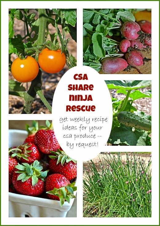 CSA Share Ninja Rescue 2014: all summer long, get weekly recipe ideas by request for the fresh produce that comes in your CSA share or from the farmers' market.