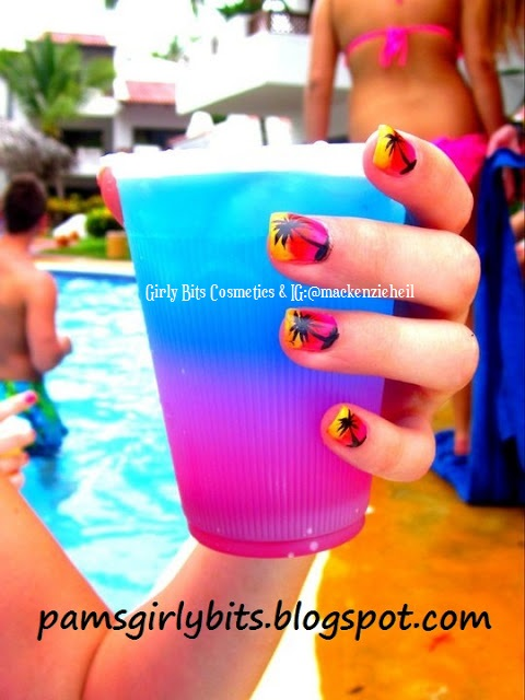 girly bits nail art and colorful drink