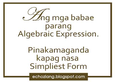 Ang mga babae parang Algebraic Expression. Pinakamaganda kapag nasa simpliest form.