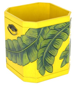 colorful wastebasket, hand painted - green leaves on yellow background