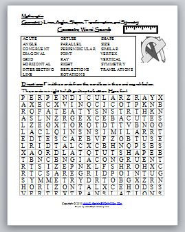 Math Crossword Puzzles On Geometry Word Search Puzzle Lines Angles Transformations Symmetry
