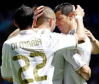 Di Maria Benzema and Cristiano celebrate against Sevilla
